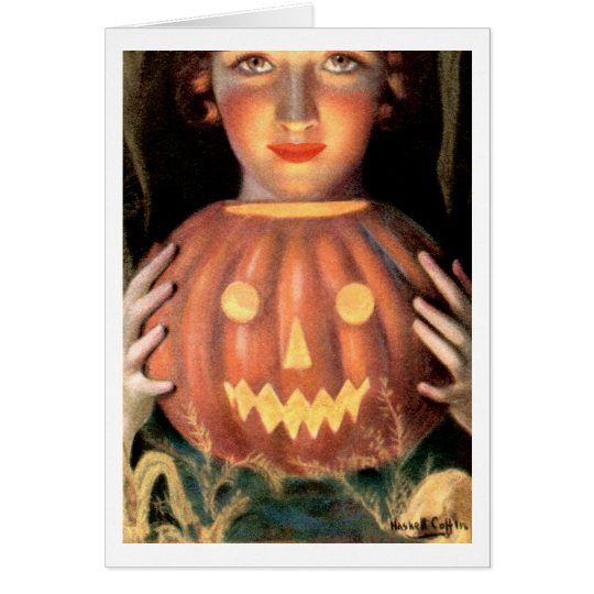 """""""BASK IN THE GLOW OF AUTUMN"""" VINTAGE HALLOWEEN CARD"""