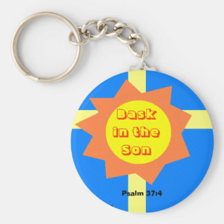 Bask in the Son Basic Round Button Key Ring