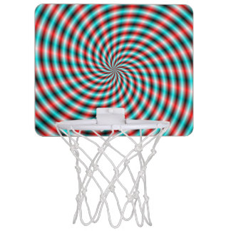 Basket Ball Net  Turquoise and Red Spiral Rays Mini Basketball Hoop