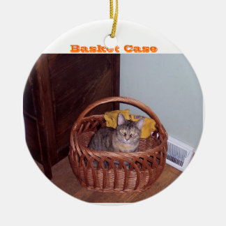 Basket Case Kitty Round Ceramic Decoration