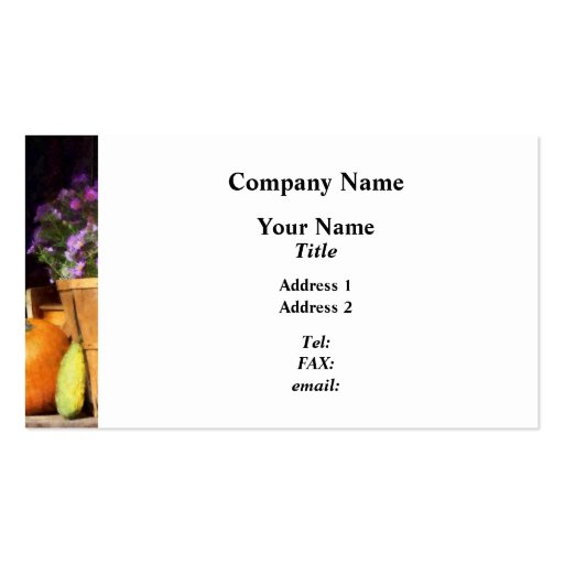 Basket of Asters With Pumpkin and Gourd Business Card Templates