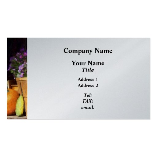 Basket of Asters With Pumpkin and Gourd - Platinum Business Cards