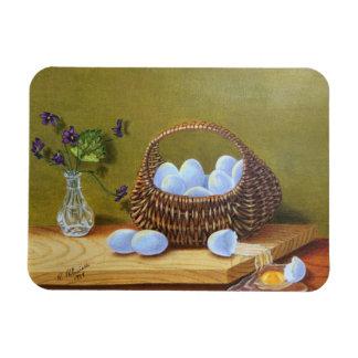 Basket of Eggs with Violets Rectangular Photo Magnet