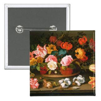 Basket of flowers, 1625 15 cm square badge