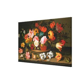 Basket of flowers, 1625 canvas print