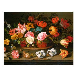 Basket of flowers, 1625 postcard