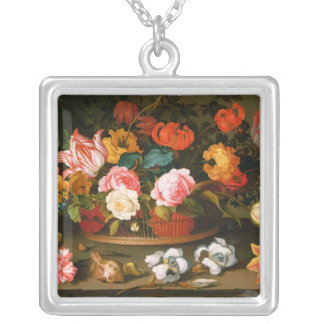 Basket of flowers, 1625 silver plated necklace