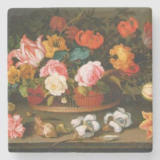 Basket of flowers, 1625 stone beverage coaster