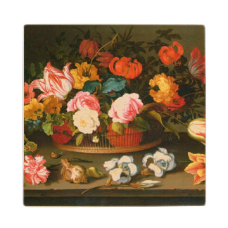 Basket of flowers, 1625 wood coaster