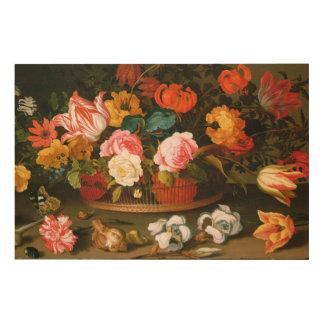 Basket of flowers, 1625 wood print