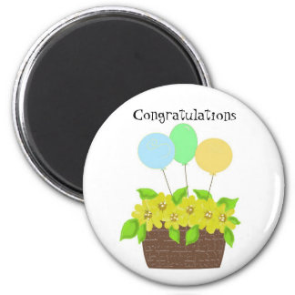 Basket of Flowers and Balloons Refrigerator Magnets