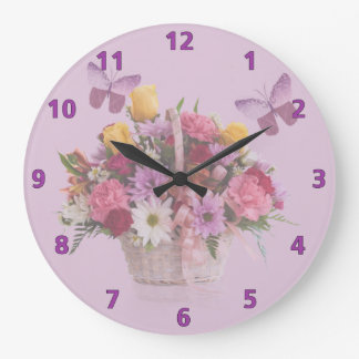 Basket of Flowers and Butterflies Large Clock