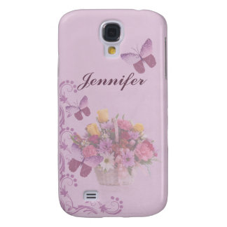 Basket of Flowers and Butterflies, Name Galaxy S4 Case