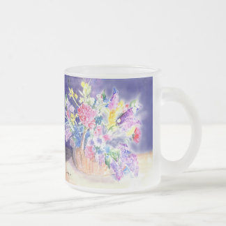 Basket of Flowers Frosted Glass Mug