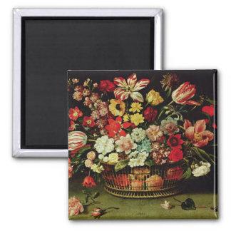 Basket of Flowers Square Magnet