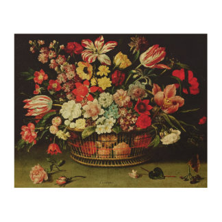 Basket of Flowers Wood Wall Decor