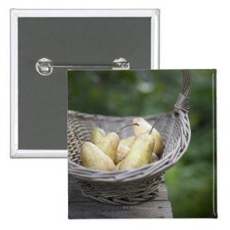 Basket of freshly picked pears 15 cm square badge