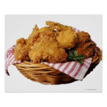 Basket of fried chicken poster