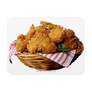 Basket of fried chicken rectangle magnets