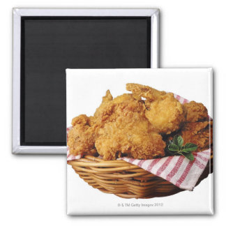 Basket of fried chicken square magnet