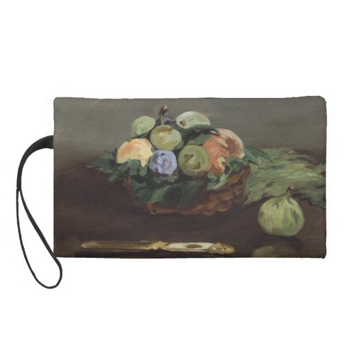 Basket of Fruit by Edouard Manet Wristlet Clutch