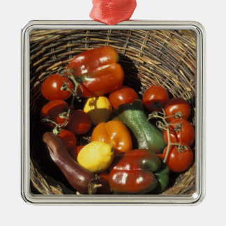 Basket of fruits and vegetables on the place christmas ornament