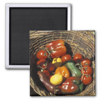 Basket of fruits and vegetables on the place magnet