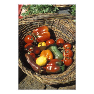 Basket of fruits and vegetables on the place photo art