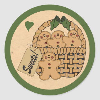Basket of Gingerbread Men | Green Classic Round Sticker