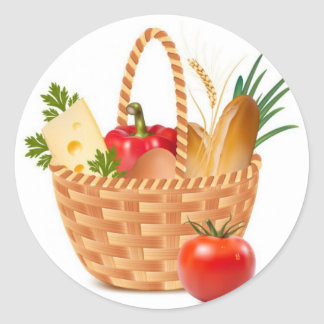Basket Of Goodness Classic Round Sticker