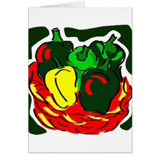 Basket of green peppers diff colours graphic note card