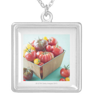 Basket of Heirloom Tomatoes Silver Plated Necklace