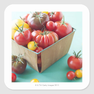 Basket of Heirloom Tomatoes Square Sticker