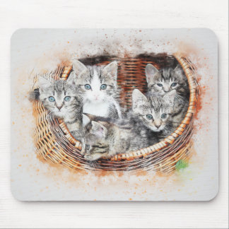 Basket of Kittens | Abstract | Watercolor Mouse Mat