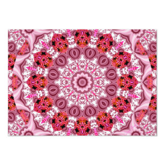 Basket of Lace, Abstract Red, Pink, White Mandala 13 Cm X 18 Cm Invitation Card