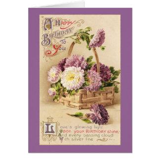 Basket of Mums Vintage Birthday Greeting Card