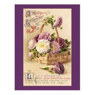 Basket of Mums Vintage Birthday Postcard