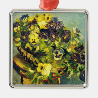 Basket of Pansies on a Table Vincent van Gogh Silver-Colored Square Decoration