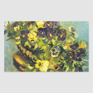 Basket of Pansies on a Table Vincent van Gogh Rectangle Stickers