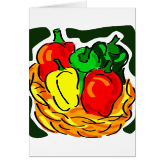 Basket of peppers diff colours graphic note card