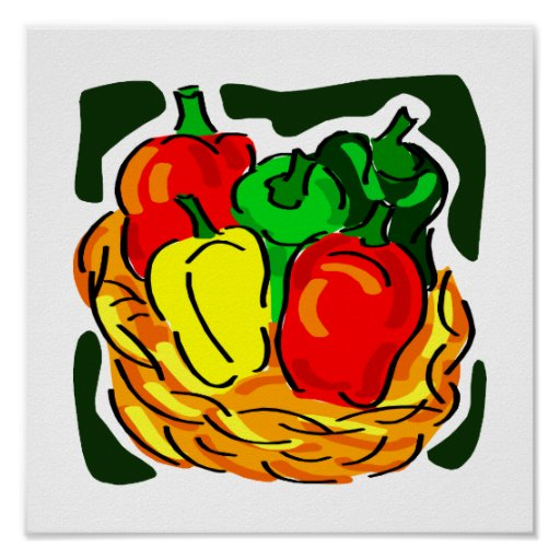 Basket of peppers diff colours graphic poster