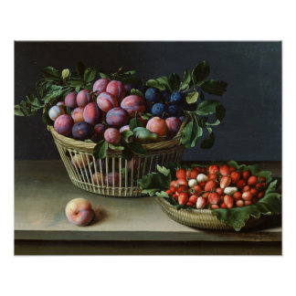 Basket of Plums and Basket of Strawberries, 1632 Poster