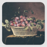 Basket of Plums Square Sticker