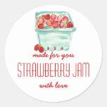 Basket of Strawberries Jam Labels Round Sticker