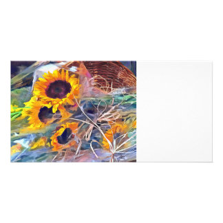 Basket of Sunflowers Custom Photo Card