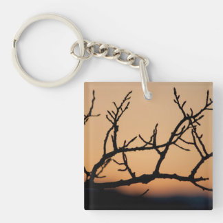 Basket of Sunset Single-Sided Square Acrylic Key Ring