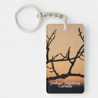 Basket of Sunset; Yukon Territory Souvenir Single-Sided Rectangular Acrylic Key Ring