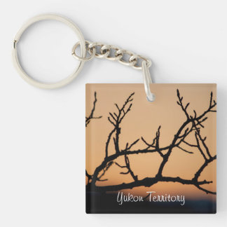 Basket of Sunset; Yukon Territory Souvenir Single-Sided Square Acrylic Key Ring