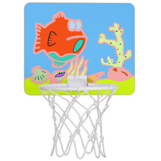 Basket of tennis shoe to goldfish mini basketball hoop