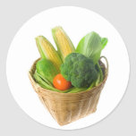 Basket of vegetables round sticker
